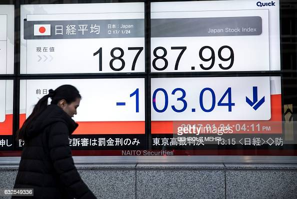 A pedestrian walks past an electric quotation board flashing numbers of the Nikkei key index of the Tokyo Stock Exchange in Tokyo on January 24 2017...