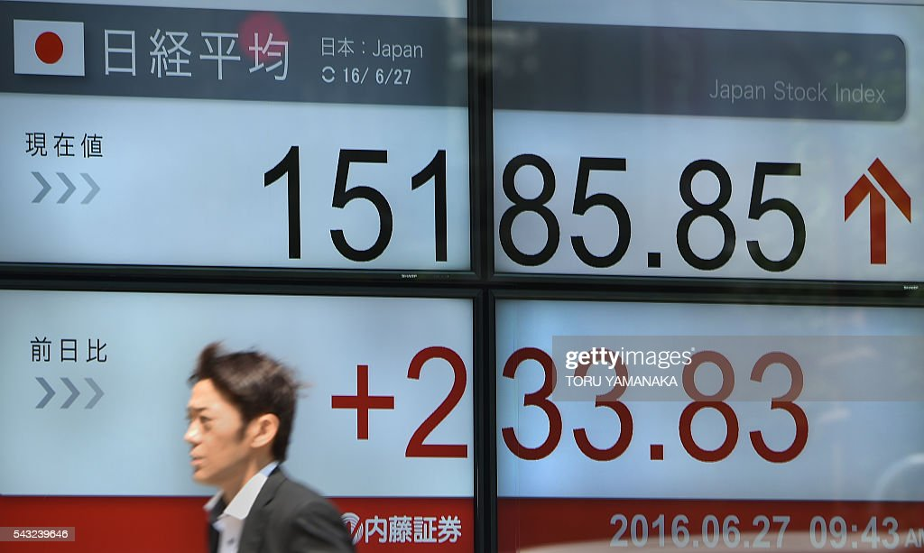 A pedestrian walks past an electric quotation board flashing the Nikkei key index of the Tokyo Stock Exchange (TSE) in front of a securities company in Tokyo on June 27, 2016. Tokyo stocks rebounded from a rout that wiped more than $2 trillion off global financial markets in response to Britain's shock vote to quit the European Union. / AFP / TORU
