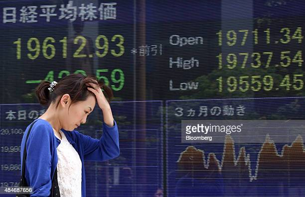 A pedestrian walks past an electronic board displaying the the Nikkei 225 Stock Average figure left outside a securities firm in Tokyo Japan on...