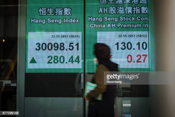 A pedestrian walks past an electronic screen displaying the Hang Seng Index left and the Hang Seng Stock Connect China AH Premium Index in Hong Kong...