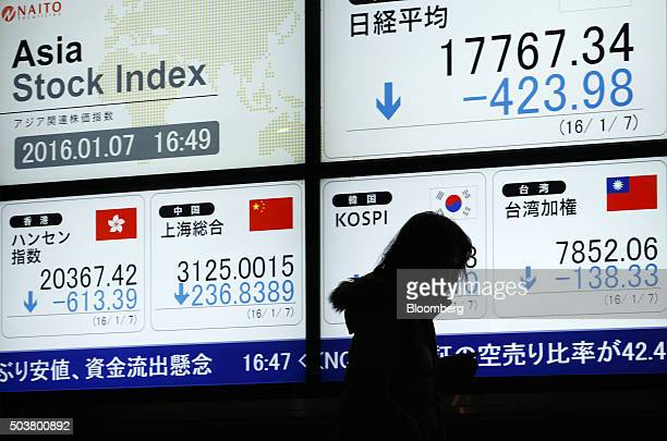 A pedestrian walks past an electronic stock board displaying the Nikkei 225 Stock Average top right and the Shanghai Stock Exchange Composite Index...