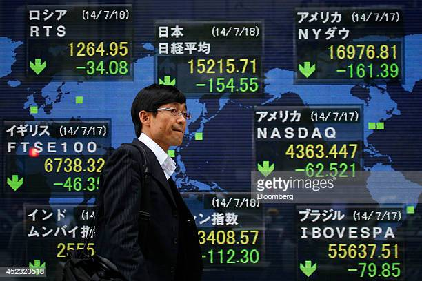 A pedestrian walks past an electronic stock board displaying the closing figure of the Nikkei 225 Stock Average top center outside a securities firm...