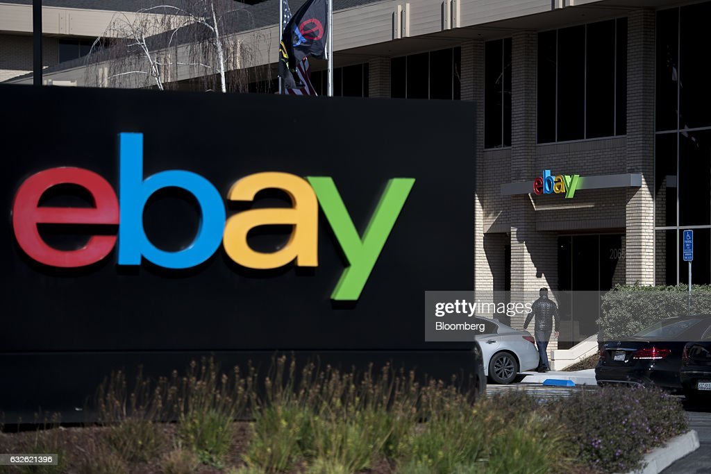 A pedestrian walks past eBay Inc. signage at the entrance to the company's headquarters in San Jose, California, U.S., on Tuesday, Jan. 24, 2017. Ebay is expected to release earnings figures on January 25. Photographer: David Paul Morris/Bloomberg via Getty Images