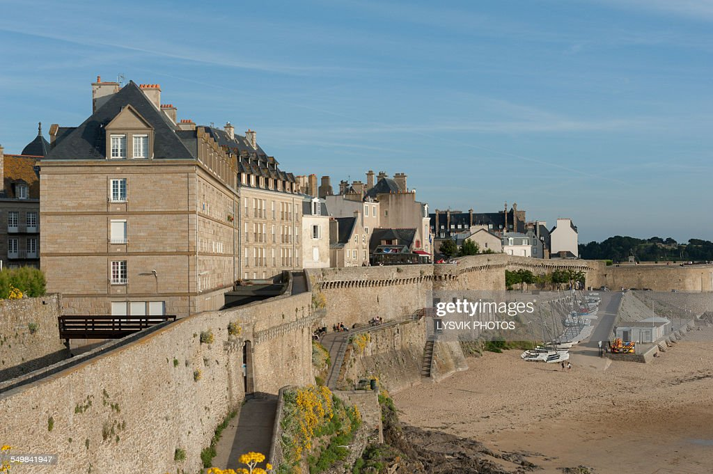 Pedestrian walkway on the walled city Saint-Malo