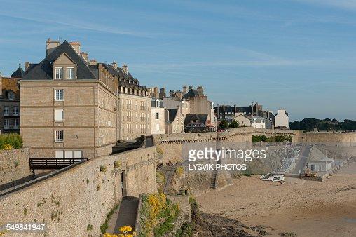 Pedestrian walkway on the walled city Saint-Malo