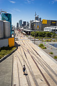 Pedestrian zone in Wynyard Quarter, Auckland, New Zealand