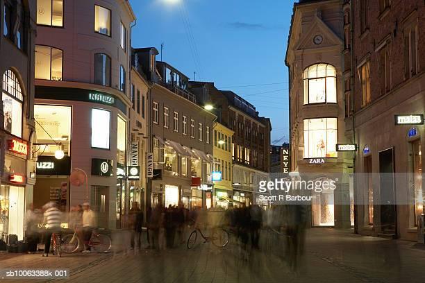Pedestrianised shopping street Amagertorv in Stroget. Copenhagen, Denmark.