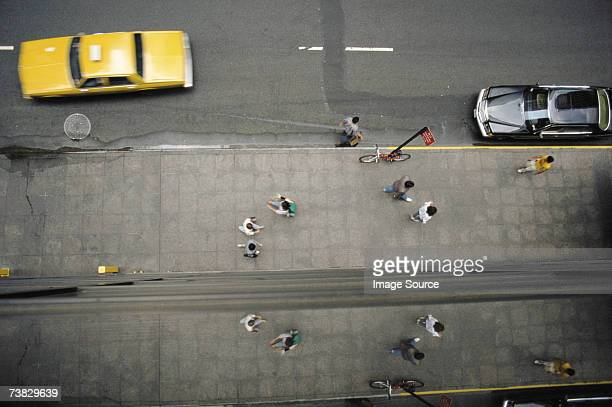 Pedestrians and yellow taxi in new York