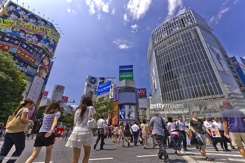 Pedestrians at Shibuya Station