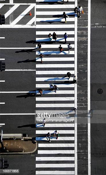 Pedestrians crossing intersection, Osaka Prefecture, Honshu, Japan