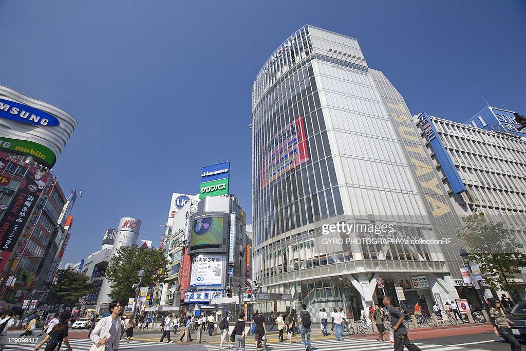 Pedestrians Crossing Road at Shibuya Station