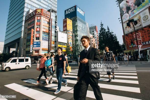 Pedestrians crossing the street in Akihabara, Tokyo, Japan