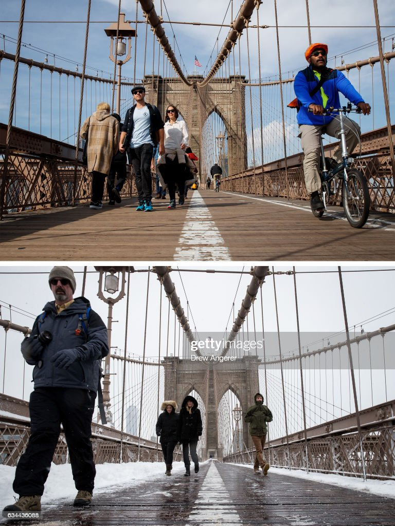 Pedestrians and cyclists make their way across the Brooklyn Bridge, February 8, 2017 in the Brooklyn borough of New York City. As temperatures touched 60 degrees on Wednesday, the city is preparing for up to a foot of snow on Thursday. Pedestrians make their way across the Brooklyn Bridge, February 9, 2017 in New York City. Following a day of 60 degree temperatures, New York City received snowfall throughout the day.