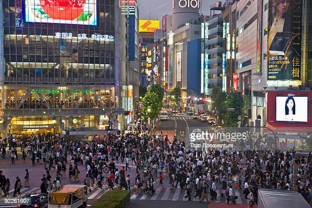Pedestrians on Shibuya crossing in the Evening