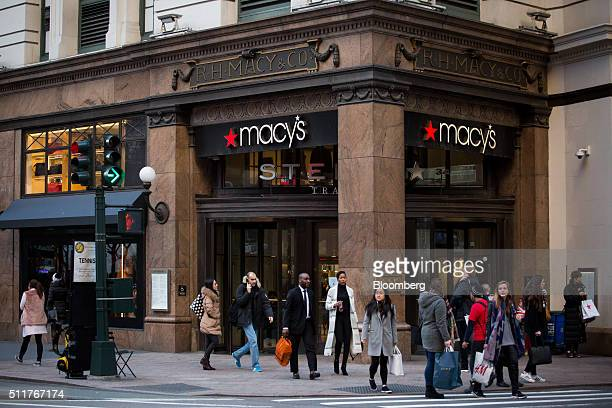 Pedestrians pass a Macy's Inc department store in New York US on Monday Feb 22 2016 Macy's Inc the largest US departmentstore company is scheduled to...