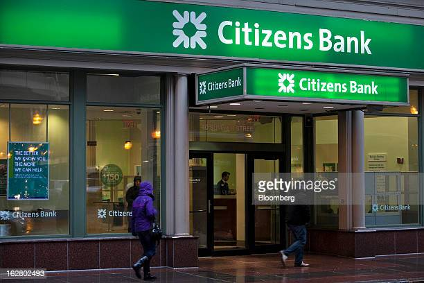 Pedestrians pass in front of a Citizens Financial Group Inc bank branch in Boston Massachusetts US on Wednesday Feb 27 2013 Royal Bank of Scotland...