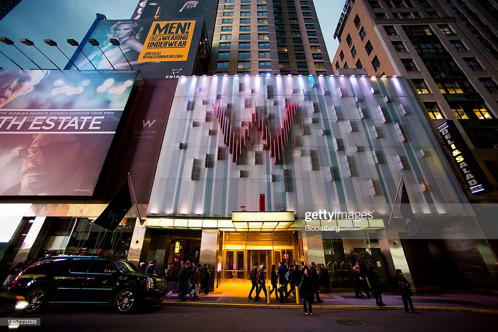 Pedestrians P In Front Of The W Hotel New York Times Square A Starwood