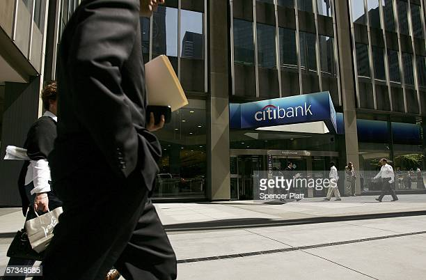 Pedestrians pass the Citibank building April 17 2006 in New York City Citigroup Inc the world's biggest financialservices company by market value has...
