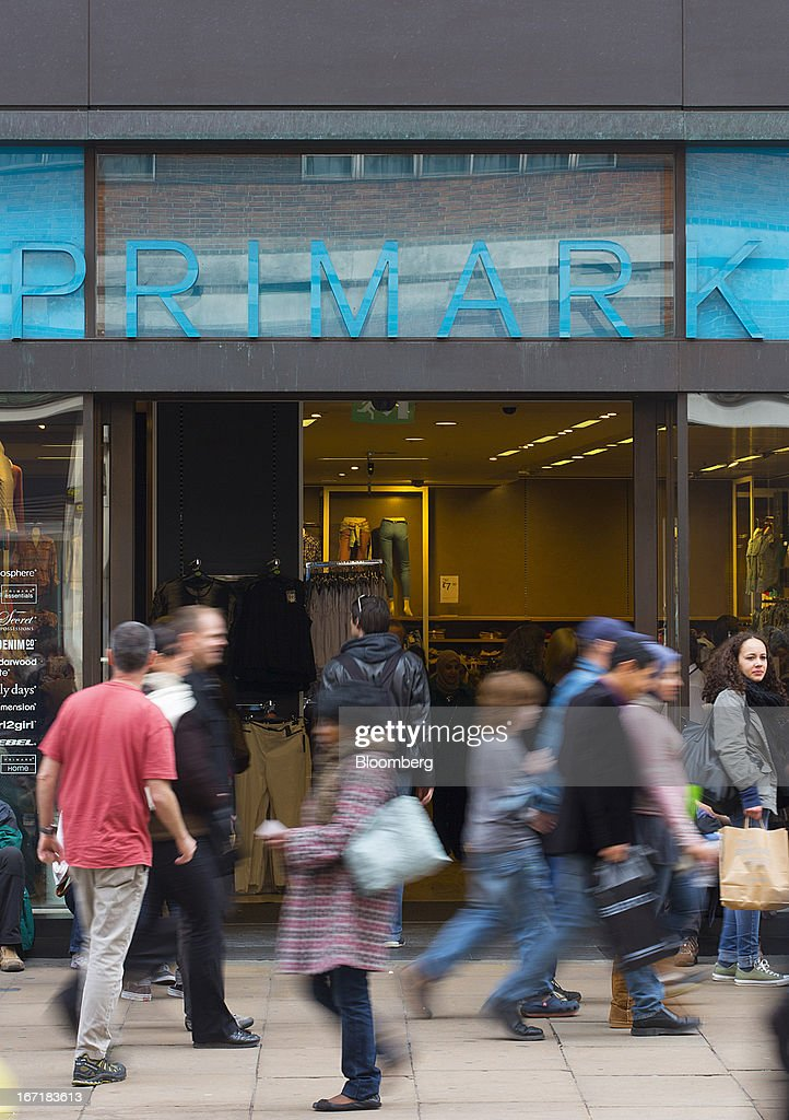 Pedestrians pass the entrance to a Primark store on Oxford Street in central London, U.K., on Monday, April 22, 2013. Associated British Foods Plc, the owner of the Primark discount-clothing chain, fell the most in three months after Credit Suisse Group AG said it's unlikely the chain's profit growth can continue at the first half's pace. Photographer: Jason Alden/Bloomberg via Getty Images