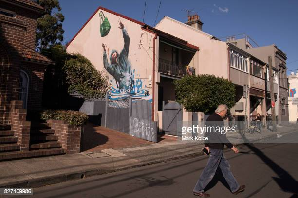 A pedestrians passes near a mural painted on the side of building by artist Fintan Magee in Newtown on August 7 2017 in Sydney Australia Perfect...