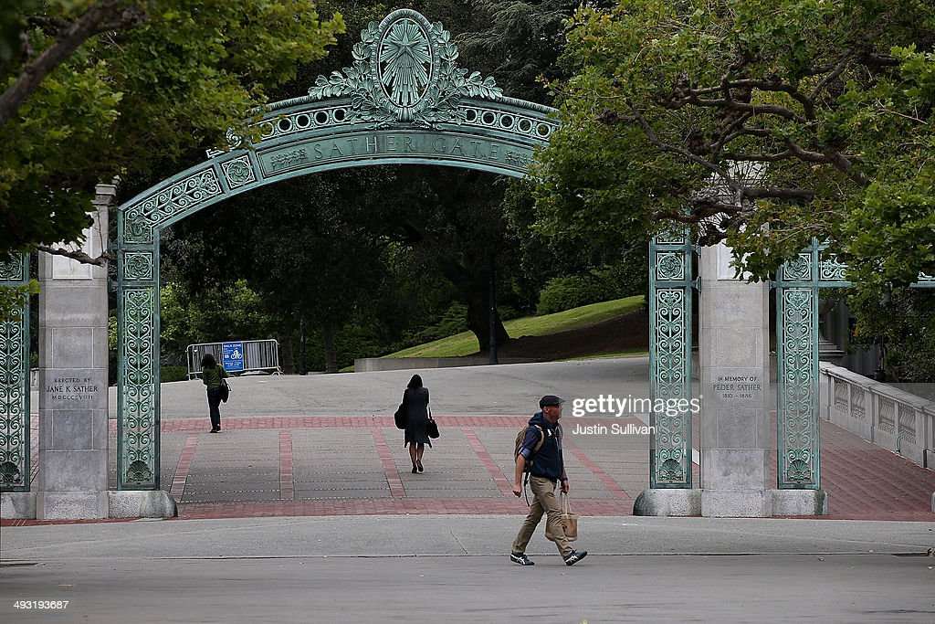 Pedestrians walk by Sather Gate on the UC Berkeley campus on May 22 2014 in Berkeley California According to the Academic Ranking of World...