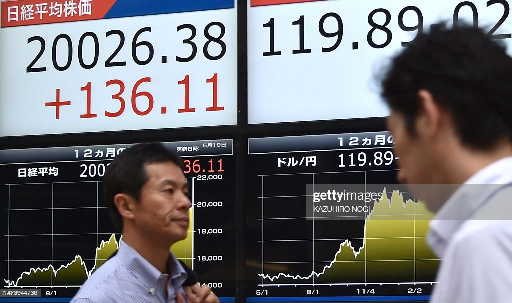Pedestrians walk in front of a share price board of the Tokyo Stock Exchange and a foreign exchange rate board against US dollar in Tokyo on May 19...