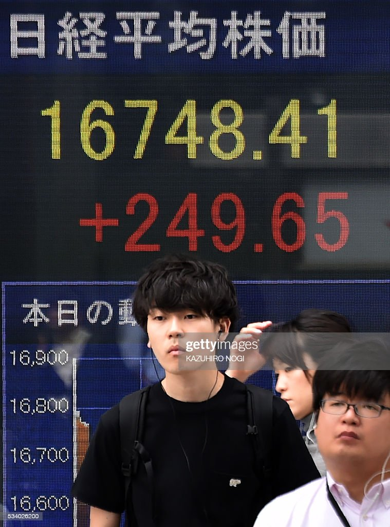 Pedestrians walk in front of an electronic stock quotation board at the window of a securities company in Tokyo on May 25, 2016. Tokyo stocks surged at the start of trading May 25, extending a rally on global financial markets, while Sony jumped more than five percent after investors shrugged off a weak profit forecast. / AFP / KAZUHIRO