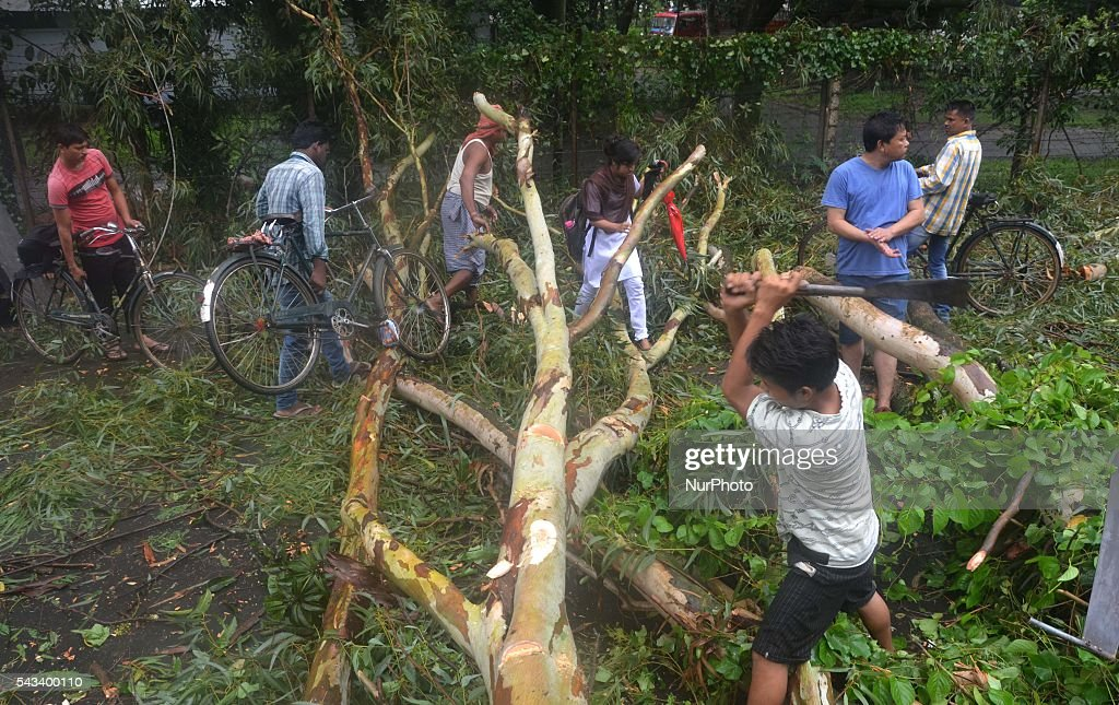 Pedestrians walk pass a fallen tree on the road as resident clear it after a heavy monsoon rain in Dimapur, India north eastern state of Nagaland on Tuesday, June 28, 2016. Thousands of people were render homeless after heavy monsoon rain in the state.