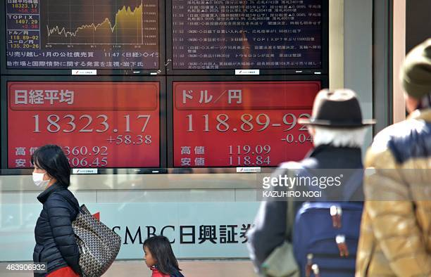Pedestrians walk past a share prices board illustrating the numbers for the Tokyo Stock Exchange and the Japanese yen in Tokyo on February 20 2015...