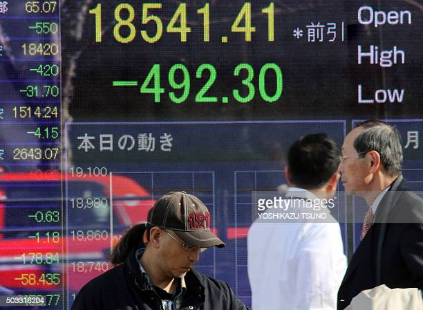 Pedestrians walk past a share prices board in Tokyo on January 4 2016 Tokyo stocks tumbled more than three percent on January 4 hit by weak China...