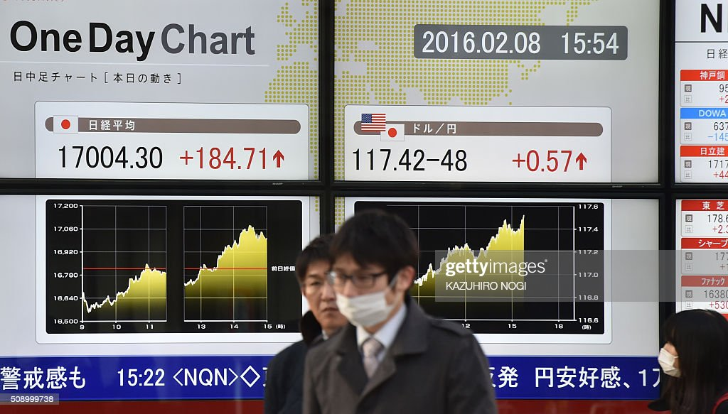 Pedestrians walk past a share prices board showing numbers of the Tokyo Stock Exchange (L) and a foreign exchange rate board against US dollar (R) in Tokyo on February 8, 2016. Tokyo stocks cast off early losses to finish higher February 8, buoyed by a weaker yen and upbeat economic data. AFP PHOTO / KAZUHIRO NOGI / AFP / KAZUHIRO NOGI