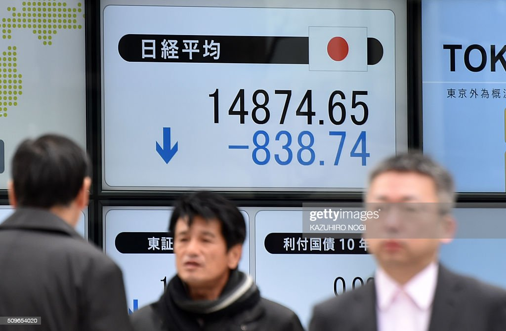 Pedestrians walk past a share prices board showing numbers of the Tokyo Stock Exchange in Tokyo on February 12, 2016. The benchmark Nikkei 225 index at the Tokyo Stock Exchange plunged 5.34 percent, or 838.74 points, to 14,874.65 at the lunch break, after a one-day trading holiday. AFP PHOTO / KAZUHIRO NOGI / AFP / KAZUHIRO NOGI