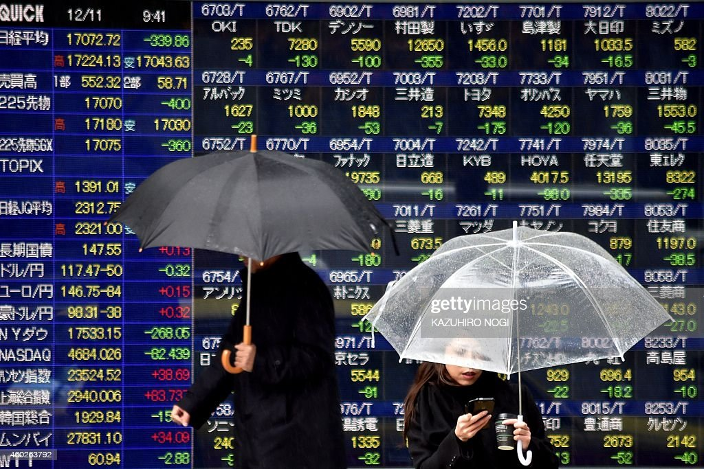 Pedestrians walk past a share prices board showing the numbers for the Tokyo Stock Exchange in Tokyo on December 11 2014 Tokyo stocks opened 133...