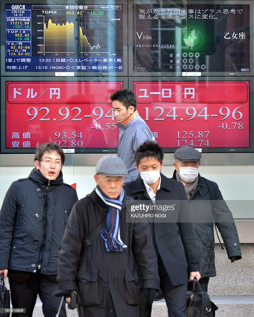 Pedestrians walk past an electronic board flashing the numbers of the foreign exchange rate of the yen against one US dollar (L) and one Euro (R) in Tokyo on February 13, 2013. Japan is cast as the villain in a heated currency drama, accused of driving down the yen's value to shore up its fragile economy, as a statement from financial powers fails to reassure markets ahead of G20 talks.
