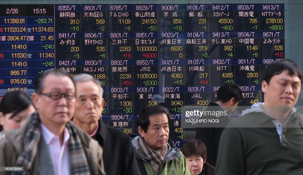 Pedestrians walk past an electronic board flashing the numbers of the Tokyo Stock Exchange displayed on a window of a securities firm in Tokyo on February 26, 2013. Tokyo shares dropped 2.26 percent February 26 as the inconclusive Italian election result fuelled concerns over fresh eurozone instability, while profit taking also dragged the market lower. The Nikkei 225 lost 263.71 points to 11,398.81 as investors cashed in following a 2.43 percent rally in the benchmark index. AFP PHOTO / KAZUHIRO NOGI