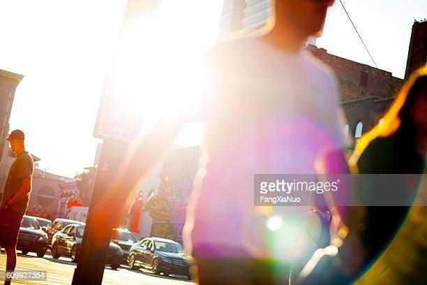 Pedestrians walking on Lower Broadway Street in downtown Nashville