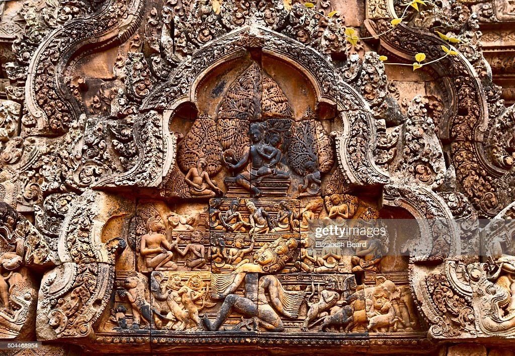banteay srei pediment carving banteay srei temple cambodia stock photo getty