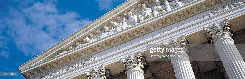 Pediment of Supreme Court building : Stock Photo