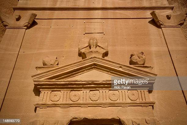 Pediment of tomb in ancient Nabatean town, Al Khurimat area.