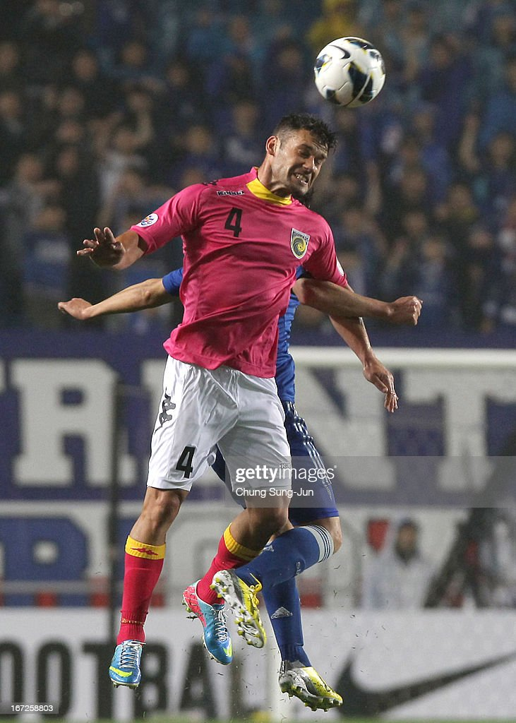 Pedj Bojic of Central Coast Mariners in action during the AFC Champions League Group H match between Suwon Bluewing and Central Coast Mariners at Suwon World Cup Stadium on April 23, 2013 in Suwon, South Korea.