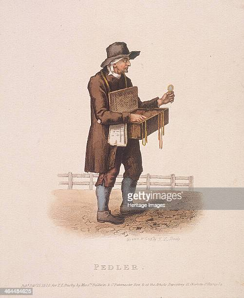 Pedlar with his box of wares hung around his neck 1820
