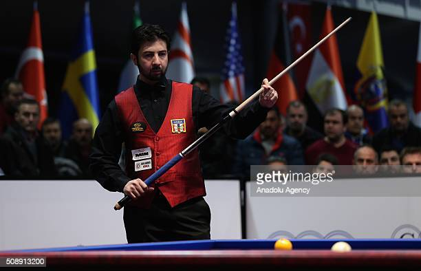 Pedra Piedrabuena of USA competes against Dick Jaspers of Netherlands during 2nd match of semifinal of the Carom Billiards 3 Cushion World Cup in...