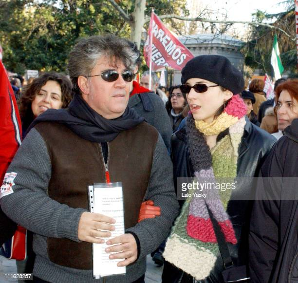 Pedro Almodovar accompanied by Leonor Watling heads the antiwar demonstration in central Madrid