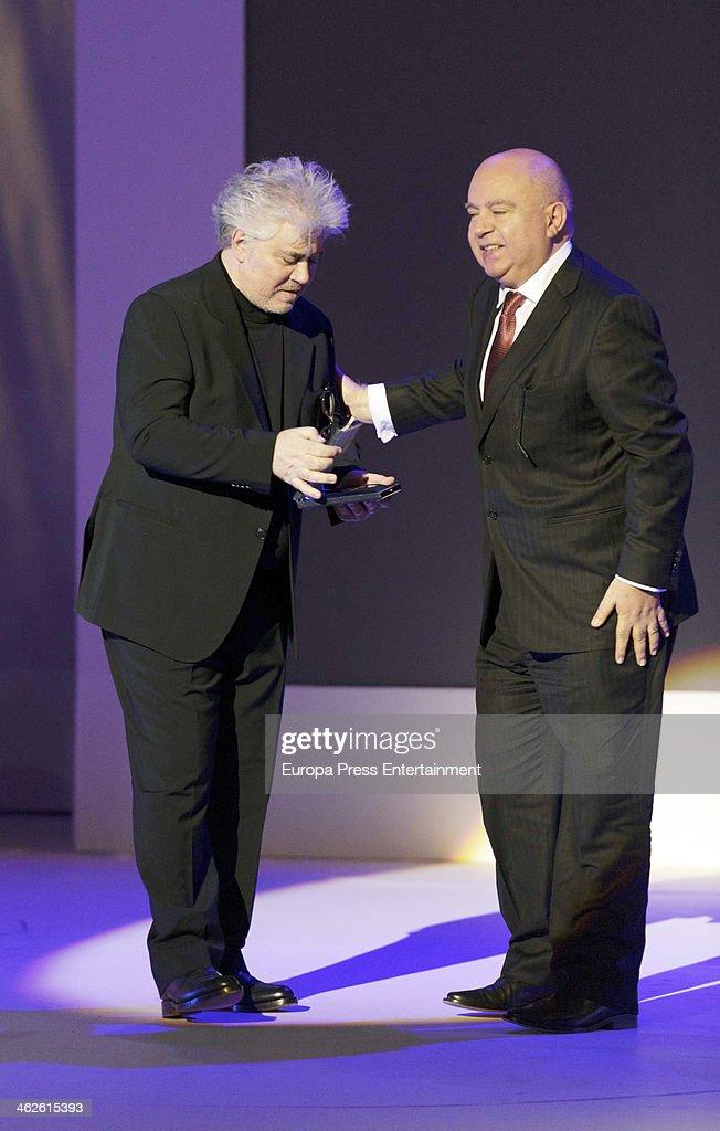 Pedro Almodovar and Agustin Almodovar attend XIX Jose Maria Forque Cinema Awards on January 13 2014 in Madrid Spain