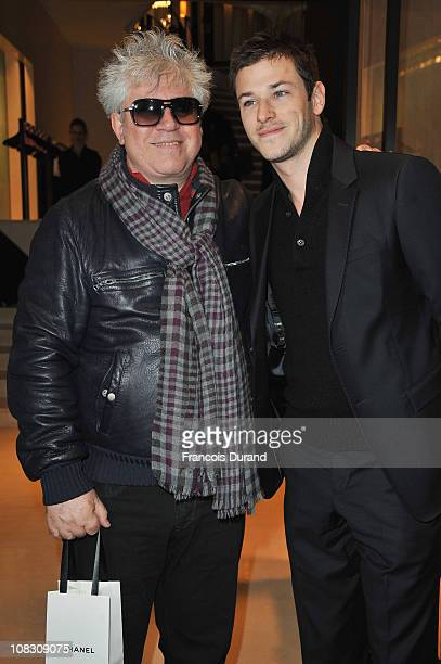 Pedro Almodovar and Gaspard Ulliel arrive at Pavillon Cambon to attend the Chanel show as part of the Paris Haute Couture Fashion Week Spring/Summer...