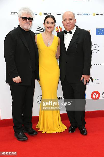 Pedro Almodovar and his brother Producer Agustin Almodovar and Adriana Ugarte during the 29th European Film Awards at National Forum of Music on...