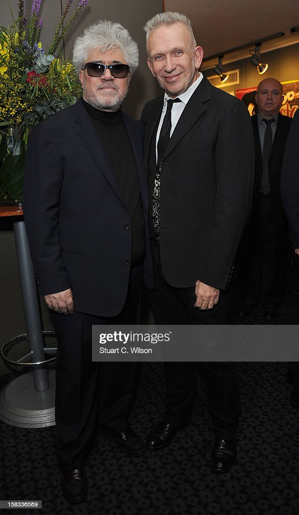Pedro Almodovar and Jean-Paul Gaultier attend as The Academy of Motion Picture Arts and Sciences honours director Pedro Almodovar at Curzon Soho on December 13, 2012 in London, England.