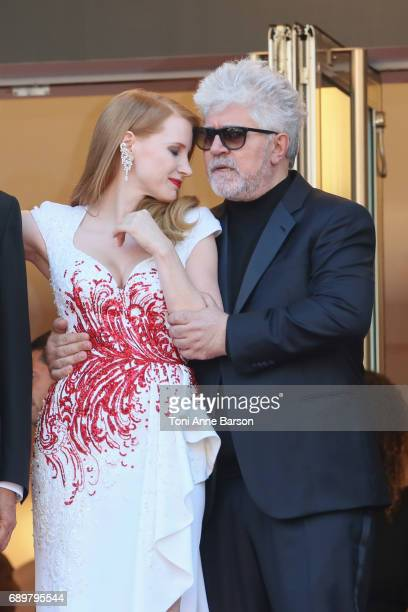 Pedro Almodovar and Jessica Chastain attend the Closing Ceremony during the 70th annual Cannes Film Festival at Palais des Festivals on May 28 2017...