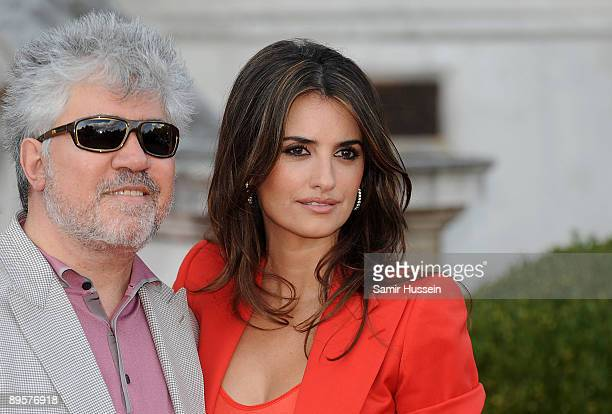 Pedro Almodovar and Penelope Cruz arrive at the UK film premiere of 'Broken Embraces' at the opening night of Film4 Summer Screen at Somerset House...
