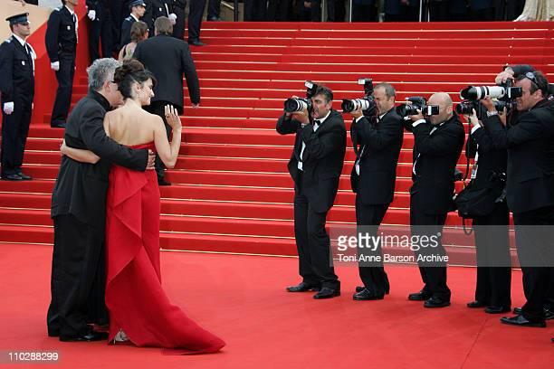 Pedro Almodovar and Penelope Cruz during 2006 Cannes Film Festival Palme D'Or Arrivals at Palais des Festivals in Cannes France